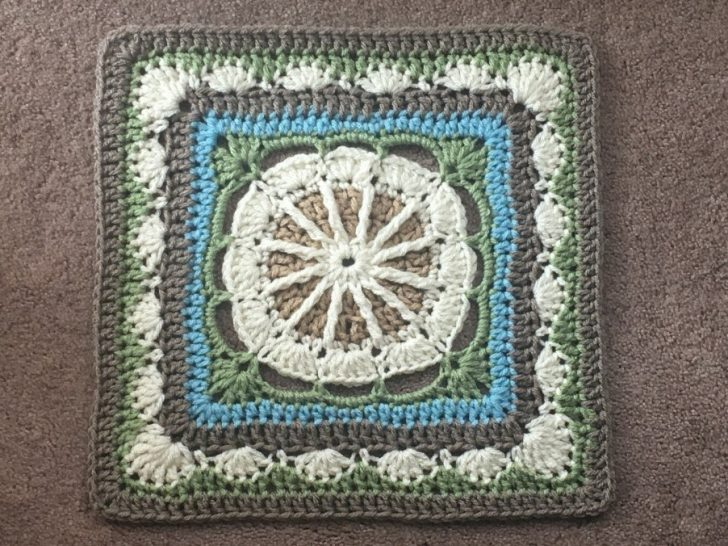 "Gretchen Afghan Square by Julie Yeager Designs - pretty 12"" crochet square in white, taupe, green, and blue"