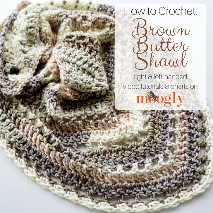 Brown Butter Shawl - free crochet pattern on Moogly #mooglyblog #redheartyarns #brownbutter #crochettutorial #crochetvideos #crochetcharts