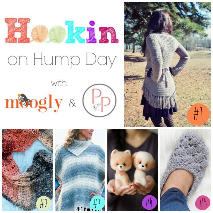Hookin On Hump Day #161 - the best crochet and knit pattern link party on Moogly and Petals to Picots! Get these fab 5 patterns while they're fresh!