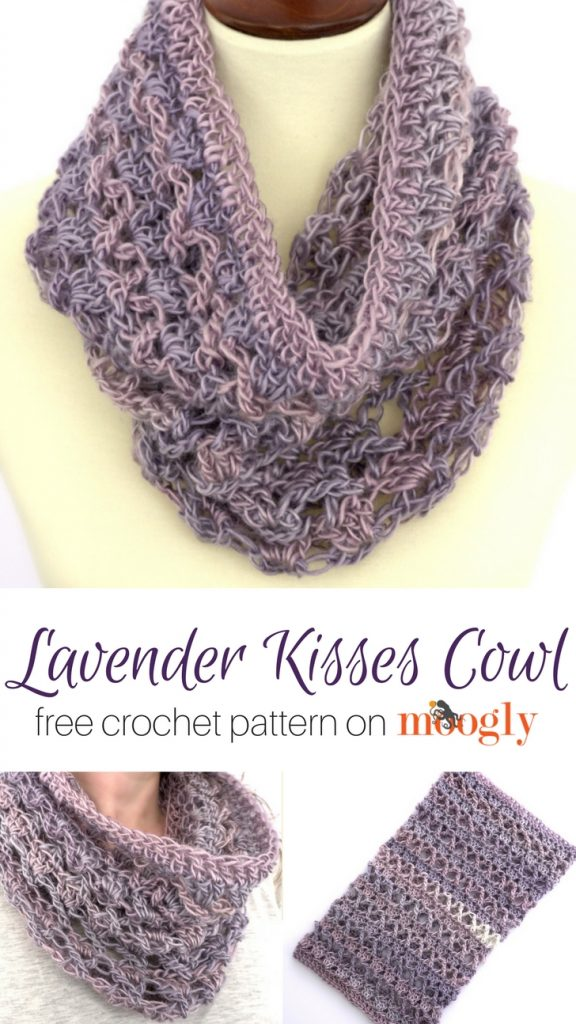 Lavender Kisses Cowl - free crochet pattern on Moogly! Uses only one skein of Red Heart Yarns Unforgettable #crochet #mooglyblog #redheartyarns #unforgettable #oneskein #oneball #cowl #diyfashion #crochetfashion