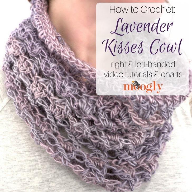Lavender Kisses Cowl - free crochet pattern and video tutorial on Moogly! Uses only one skein of Red Heart Yarns Unforgettable #crochet #mooglyblog #redheartyarns #unforgettable #oneskein #oneball #cowl #diyfashion #crochetfashion