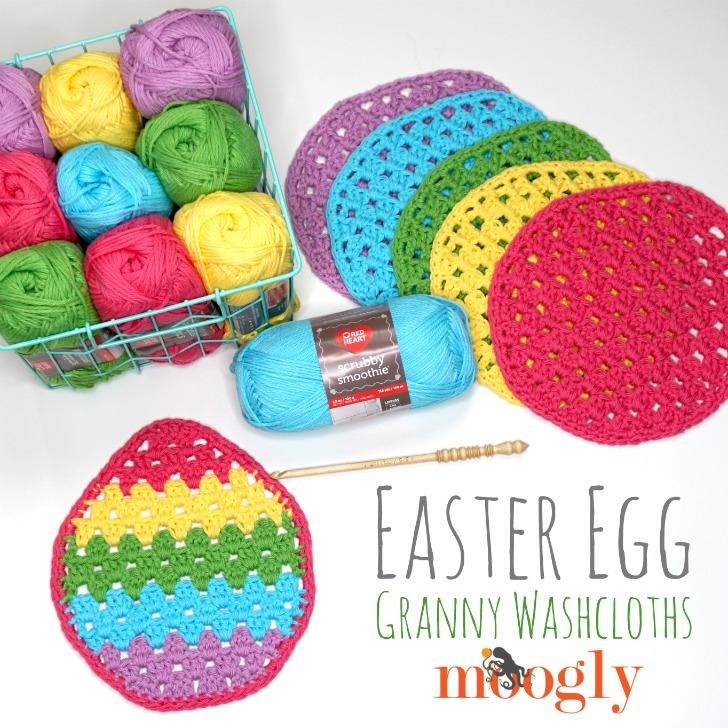 Easter Egg Granny Washcloths - free crochet pattern on Moogly!
