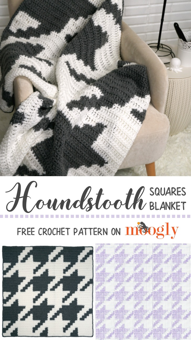 Houndstooth Squares Blanket - free crochet pattern on Moogly featuring Red Heart Comfort Chunky!