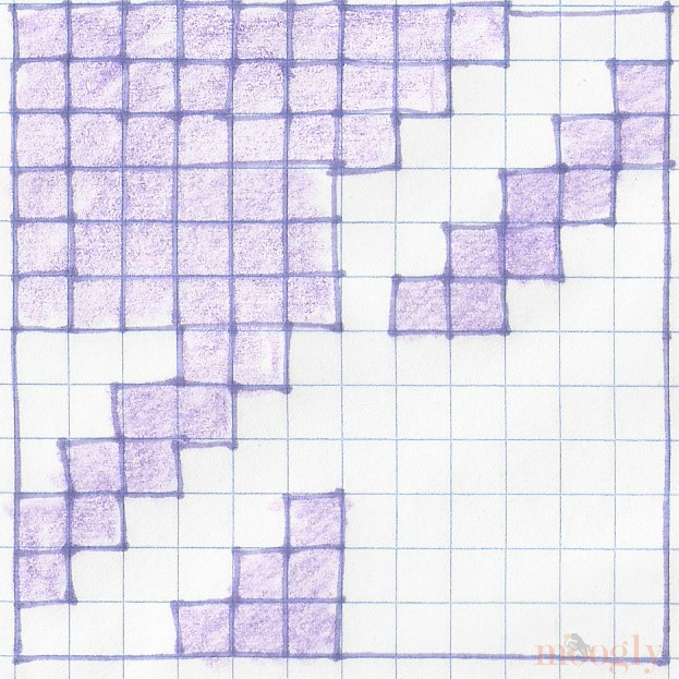 Houndstooth Squares Blanket - pixel graph for basic repeat, purple and white squares on graph paper