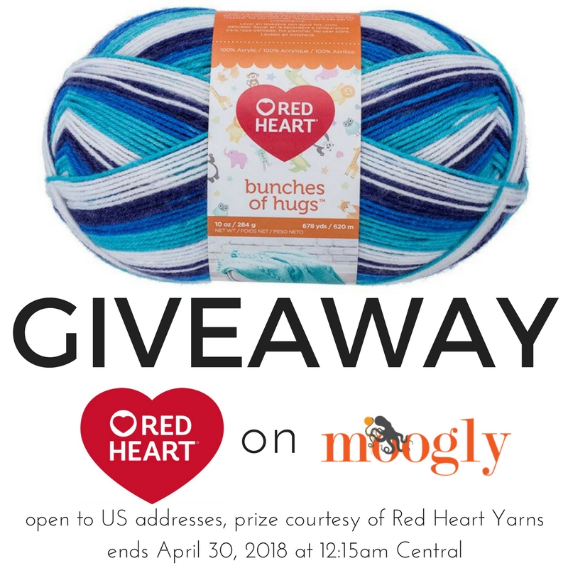 Win Red Heart Bunches of Hugs on Moogly! Giveaway open to US addresses only, ends 4/30/18, sponsored by Red Heart Yarns.