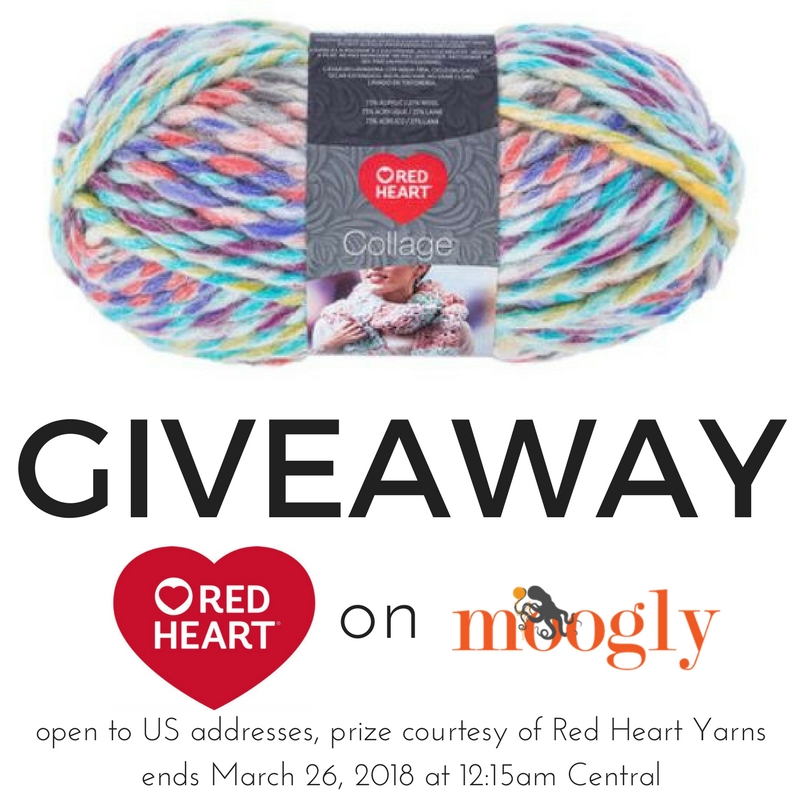 Win Red Heart Collage on Moogly! Giveaway open to US only, ends 3/26/18. Prize provided by Red Heart Yarns.