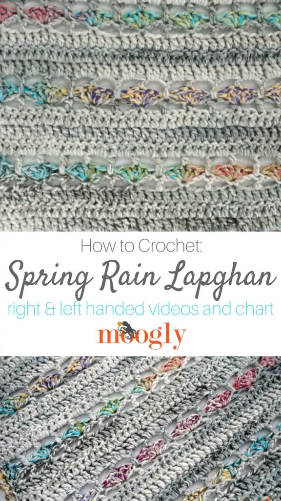 Spring Rain Lapghan - get the free crochet pattern, video tutorials, and chart on Moogly! Featuring Red Heart Collage ♥