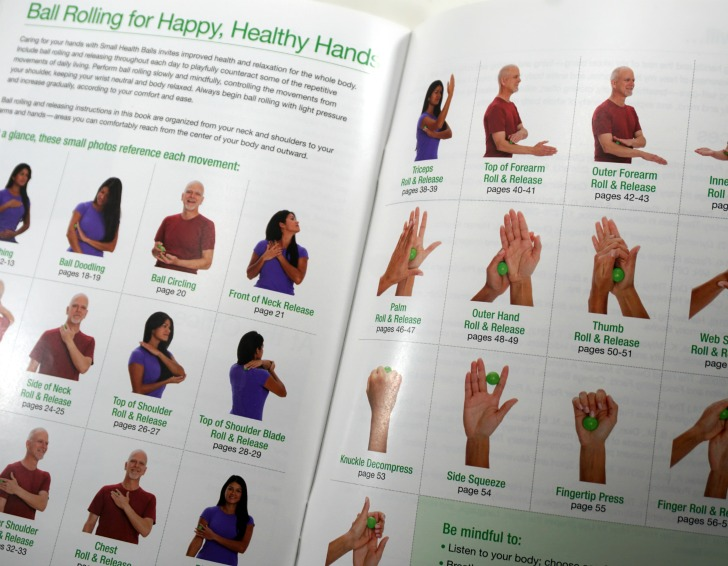 Ball Rolling for Happy Healthy Hands - an at a glance guide to all the movements shown within