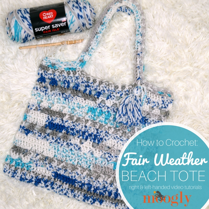 How to Crochet the Fair Weather Beach Tote - square image of bag on fur background with yarn and hook