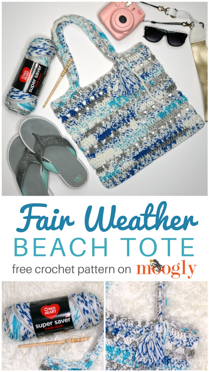 Fair Weather Tote Bag - free crochet pattern on Moogly, featuring Red Heart Super Saver Fair Isle