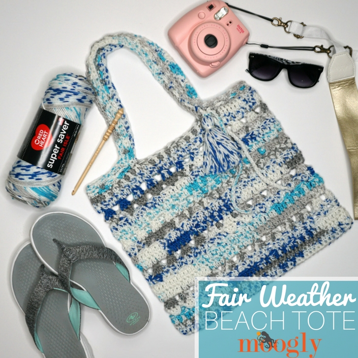 Fair Weather Beach Tote - crochet bag with a camera, yarn, hook, sunglasses, and flip flops