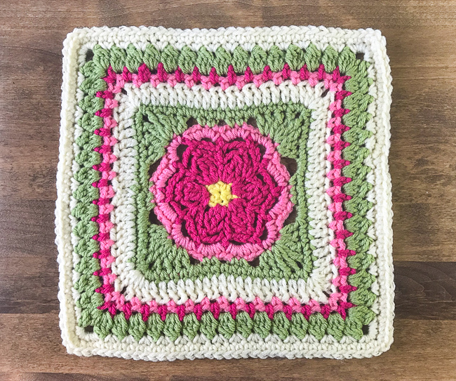 Dahlia Bloom Afghan Square by Petals to Picots - Block #6 in the Moogly Afghan CAL!