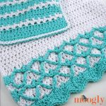 Mermaid Towel and Washcloth Set - together, closeup