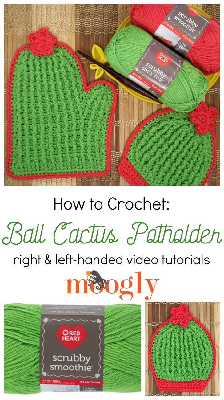 Ball Cactus Potholder Tutorial on Moogly