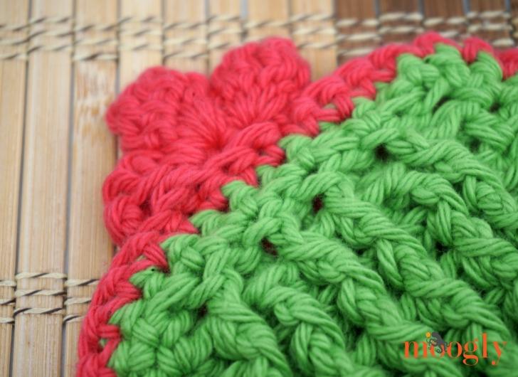 Crochet Tall Cactus Potholder back of the flower