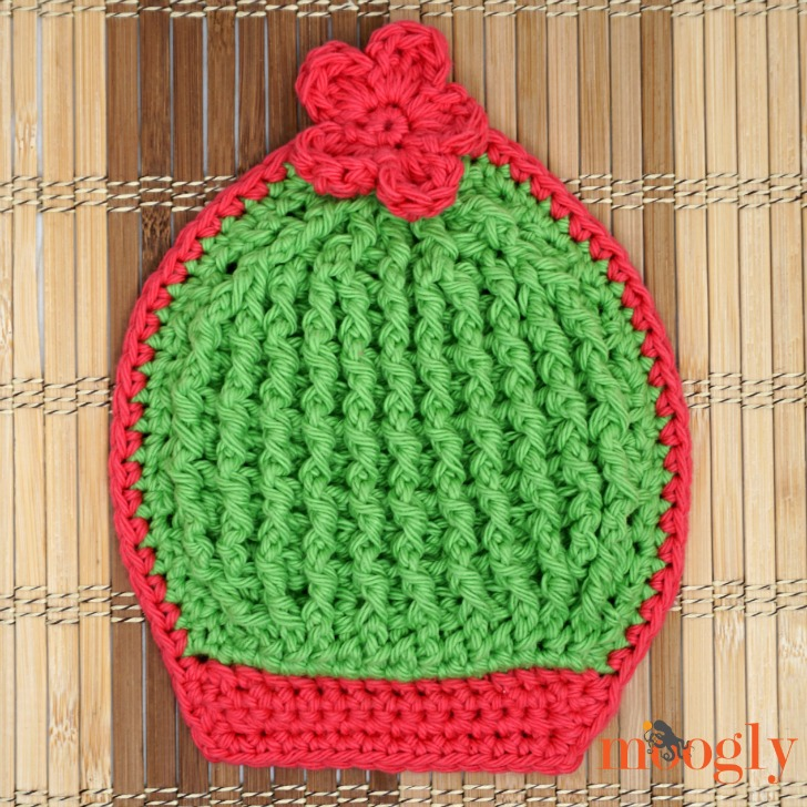 Crochet Ball Cactus Potholder on a table