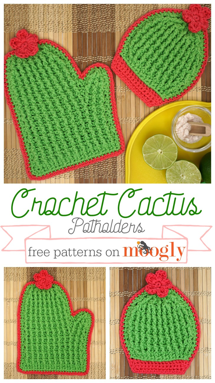 Crochet Cactus Potholders - on a table with some limes, and individually, this is a long Pinterest ready image