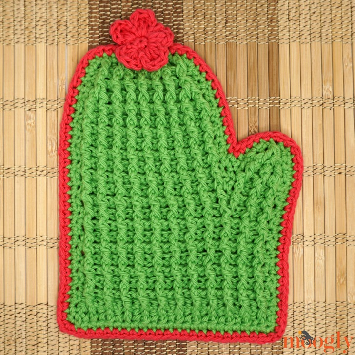 Crochet Tall Cactus Potholder alone