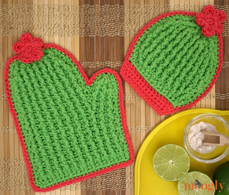 Crochet Cactus Potholders on a table with limes