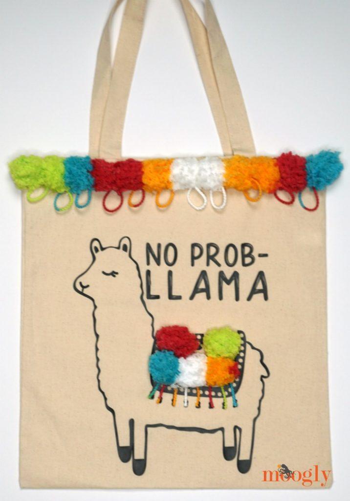 No Prob-Llama Tote Bag - free DIY tutorial on Moogly!