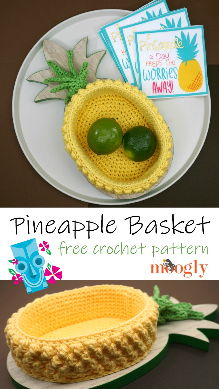 Pineapple Basket: Free Crochet Pattern on Moogly