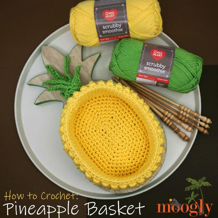 How to Crochet the Pineapple Basket - get the free crochet pattern and the right and left-handed video tutorials on Moogly!