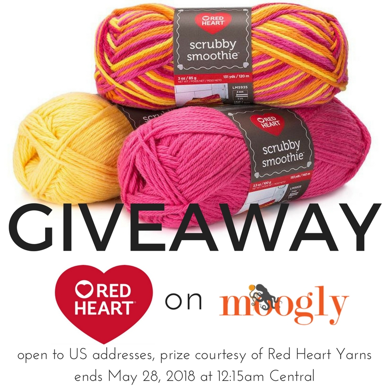Win Red Heart Scrubby Smoothie on Moogly! Giveaway sponsored by Red Heart Yarns. Open to US addresses, ends May 28, 2018, at 12:15am Central US time.