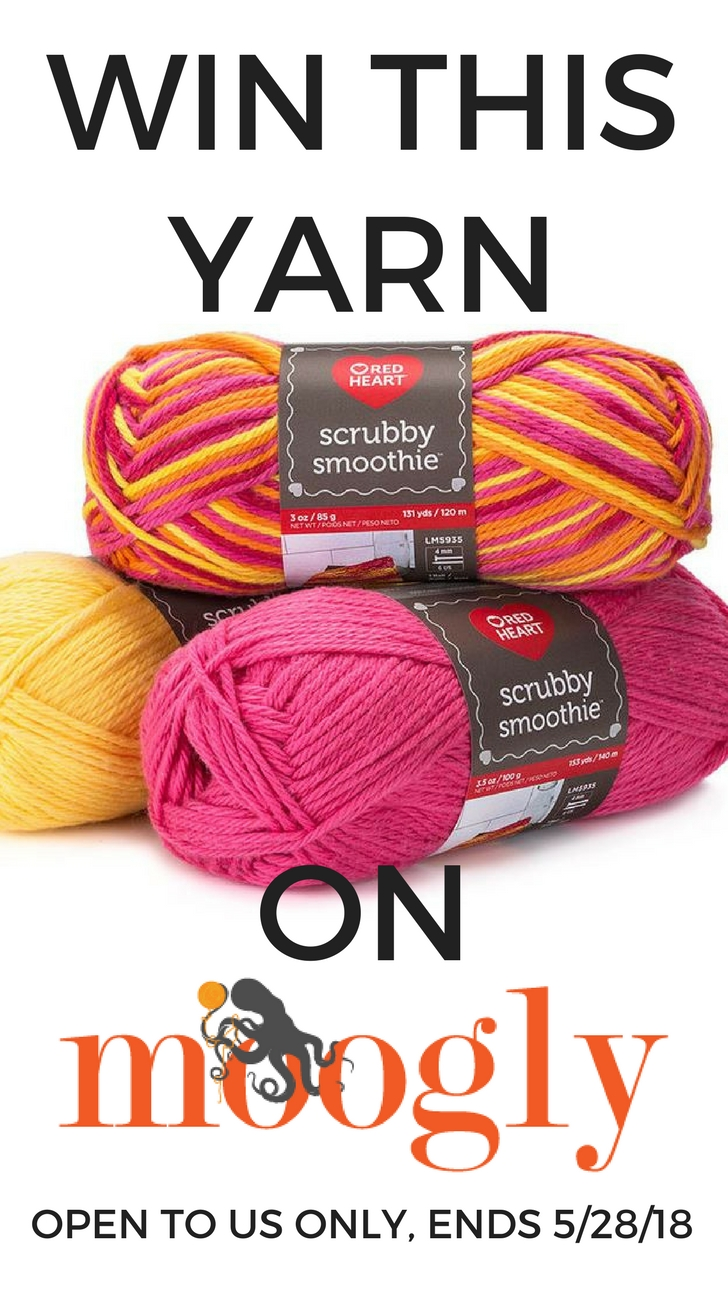 Win Red Heart Scrubby Smoothie on Moogly! Giveaway sponsored by Red Heart Yarns. Open to US addresses, ends May 28, 2018, at 12:15am Central US time. This giveaway is for 10 balls, so tell a friend (and share!)