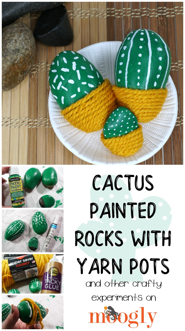 Cactus Painted Rocks with Yarn Pots - Tutorial on Moogly!