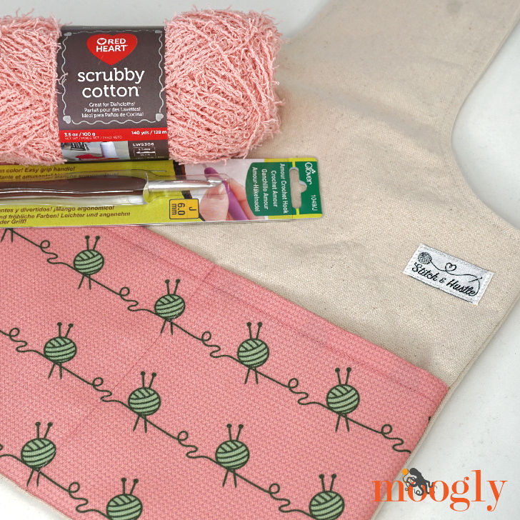Win a Stitch & Hustle Limited Edition Project Bag, Red Heart Scrubby Cotton, and Clover Amour Hook on Moogly! Giveaway open worldwide, ends 7/9/18 at 12:15am Central US time