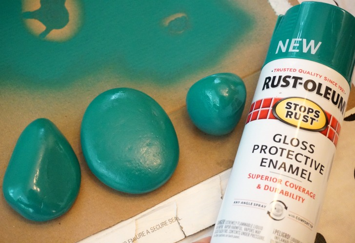 Spray paint can take a very long time to dry on rocks!