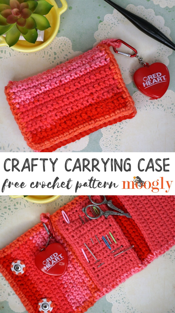 Crafty Carrying Case - make crafting easier by keeping all your tools handy with this free crochet pattern on Moogly, made with Red Heart With Love!