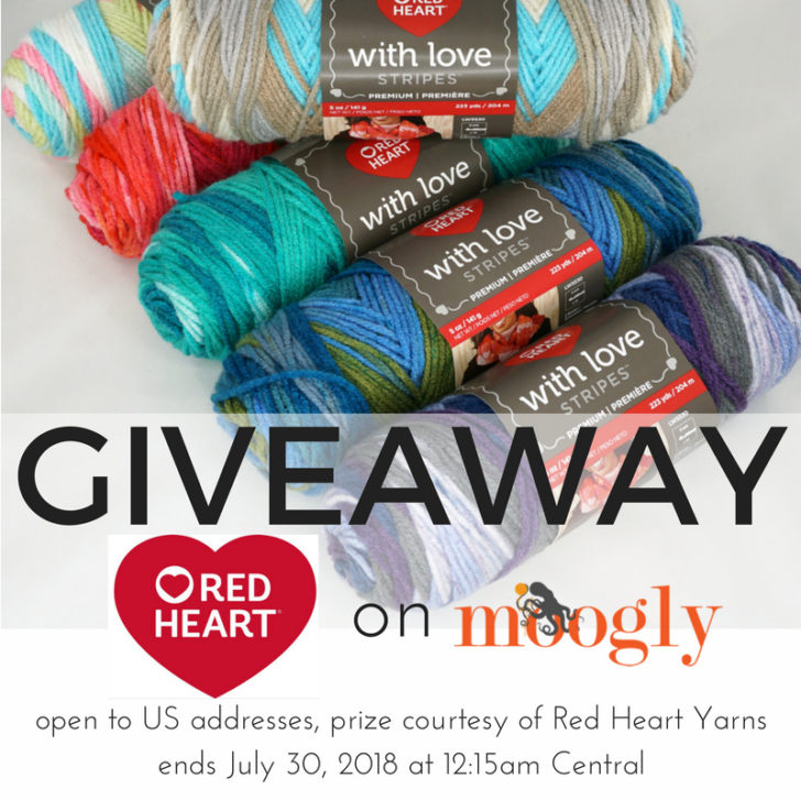 Red Heart With Love Stripes Giveaway on Moogly! Win 8 skeins of this gorgeous yarn! Sponsored by Red Heart and open to US addresses only, ends July 30, 2018