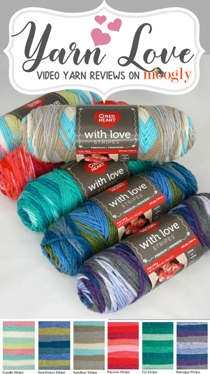 Yarn Love: Take a close look at Red Heart With Love Stripes on Moogly! Get all the details - and some great ideas for mixing and matching with With Love solids!