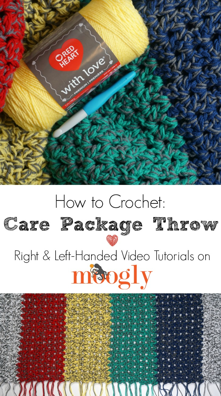 How to Crochet the Care Package Throw - right and left-handed video tutorials on Moogly!