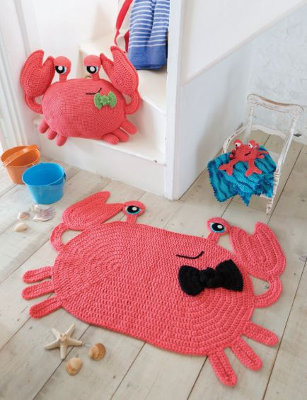 Crocheted Animal Rugs by Ira Rott - Cranky the Crab