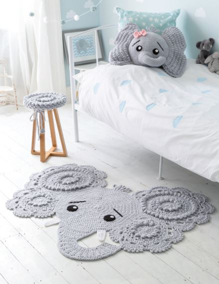 Crocheted Animal Rugs by Ira Rott - Jeffery the Elephant