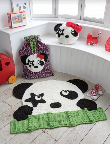 Crocheted Animal Rugs by Ira Rott - Rock 'n' Roll Panda