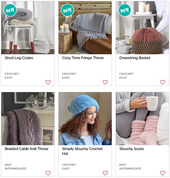 Free Knit and Crochet patterns using Red Heart Hygge Yarn!