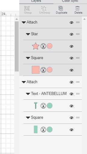 Attach layers for the labels using Cricut Design Space