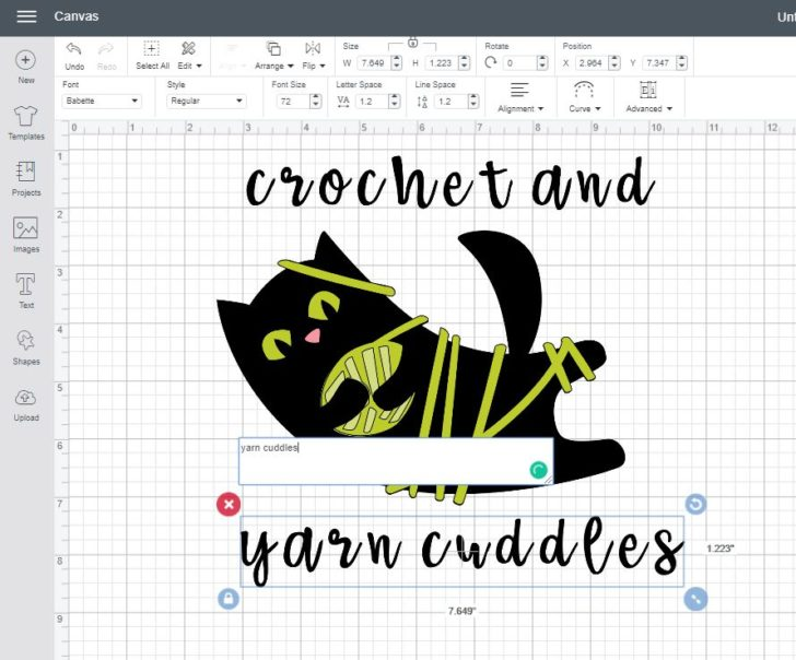 Adding text in Cricut Design Space