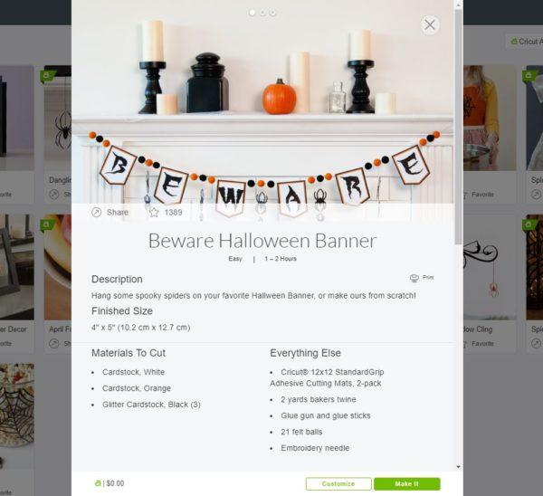 Beware Banner Project File on Cricut Access