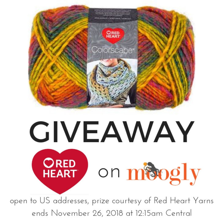 Red Heart Colorscape Giveaway on Moogly! Ends November 36, 2018 at 12:15am Central.