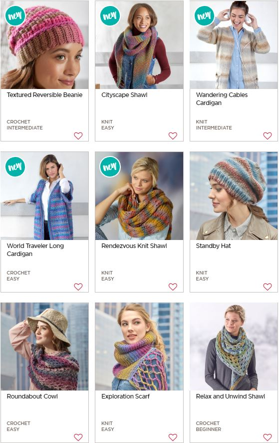 Free patterns made with Red Heart Colorscape!
