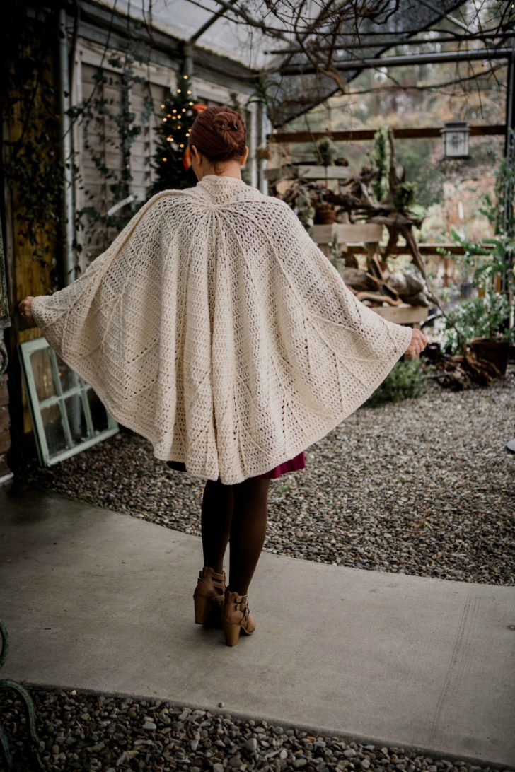 Snow Charming Cape by Tamara Kelly - Furls December 2018 Crochet Along - Back View