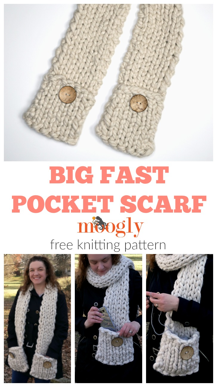 Big Fast Pocket Scarf - free crochet pattern on Moogly!