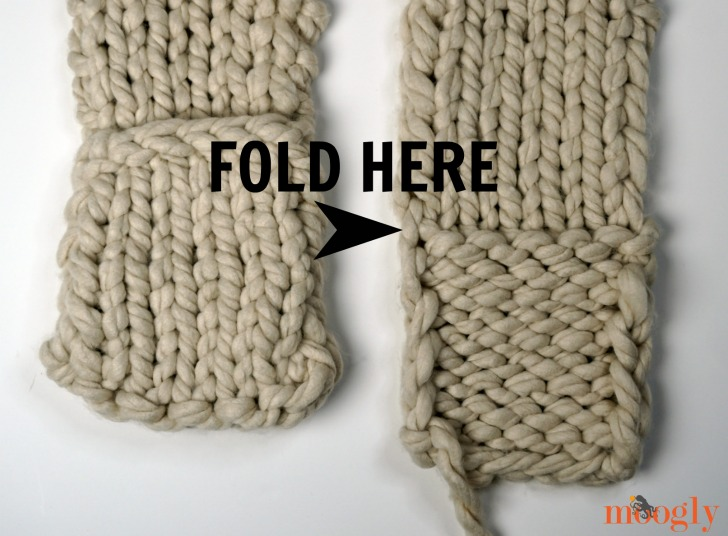 Big Fast Pocket Scarf - fold end up at row change for pockets