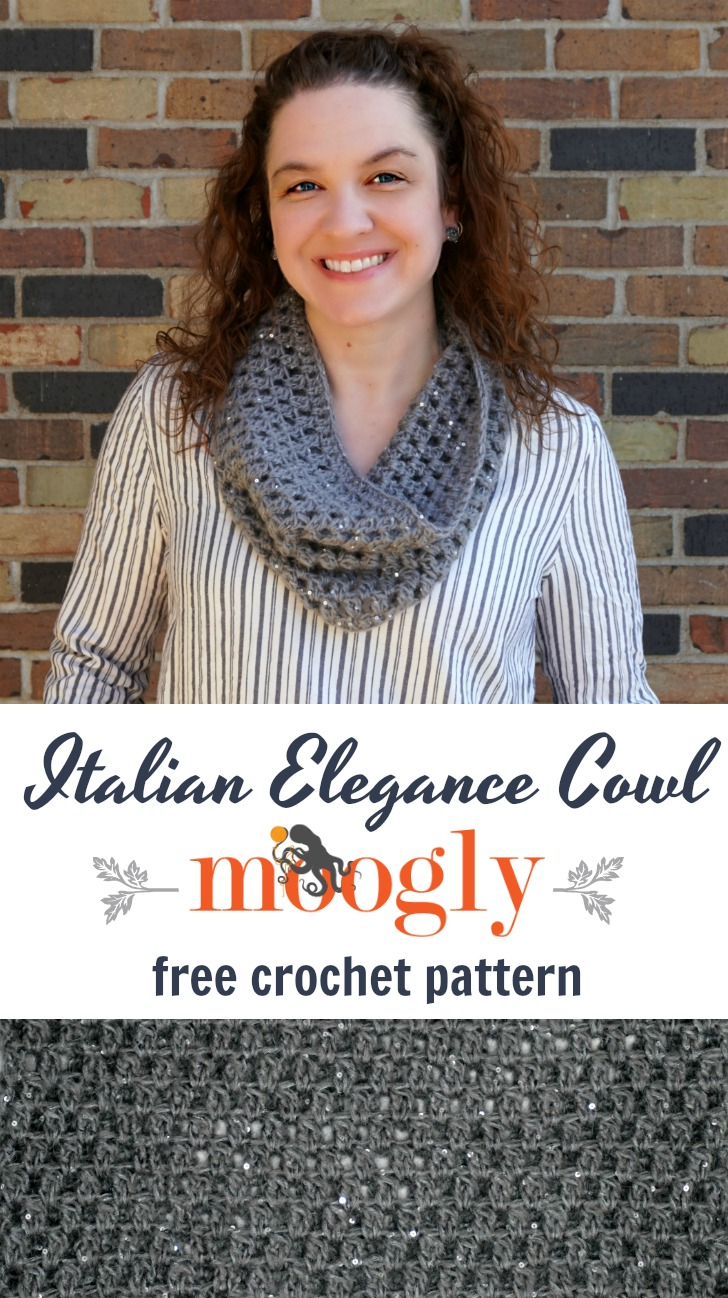 The Italian Elegance Cowl is the perfect indulgence - easy to crochet, and full of sparkle! Get the free crochet pattern on Mooglyblog.com!