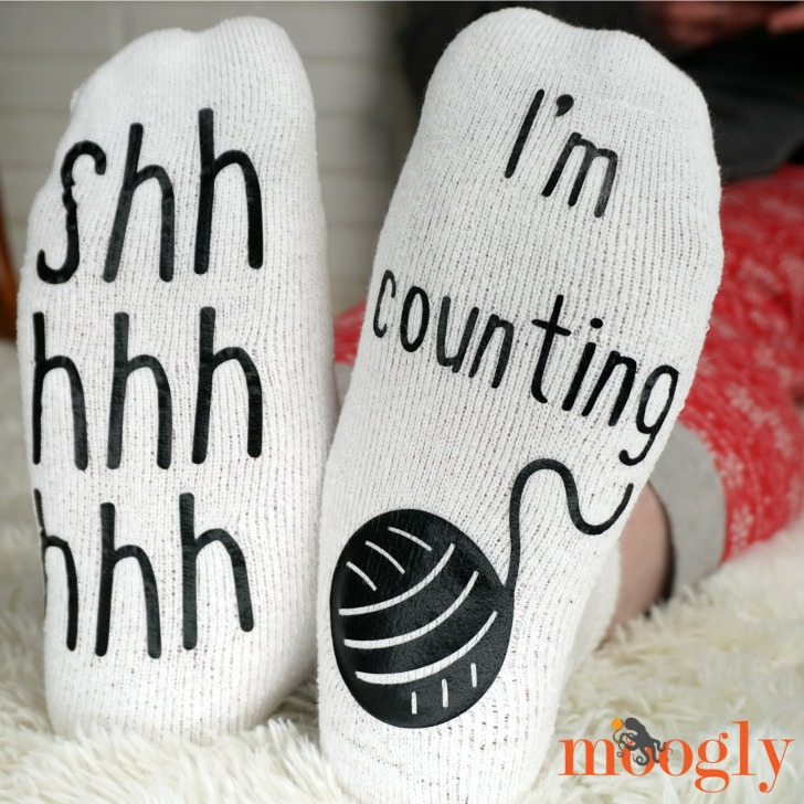 Cricut Craft - Shh Socks Worn