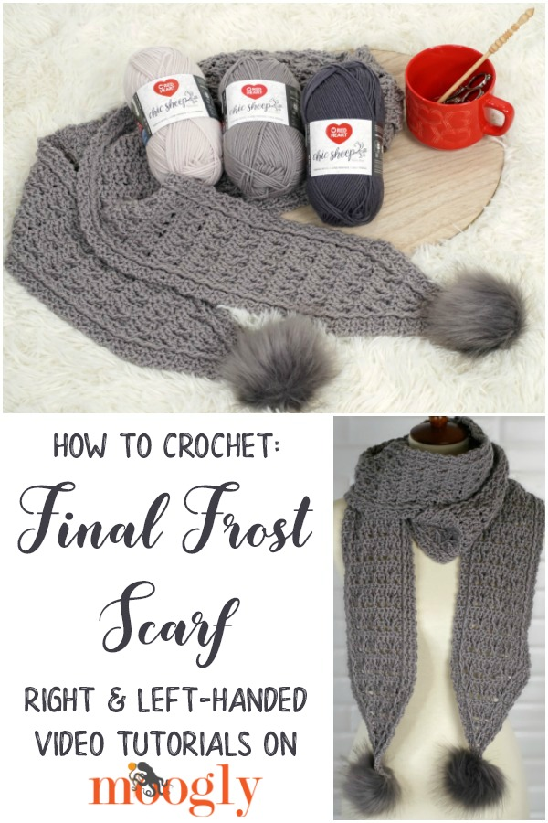 Final Frost Scarf Tutorial - learn how to crochet this gorgeous free crochet scarf pattern on Moogly in right and left handed video tutorials!